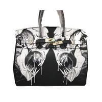 Известные бренды Для женщин сумка из искусственной кожи Сумки Tote Сумки золотой замок почерк мультфильм двойной череп сумка 35 см подарок на
