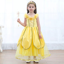 a7dfab756d 4-12T Kid Girls Belle Princess Costume Child Golden Sweet Maxi Dress Long  Cute Flower Gown Fancy Outfit Gift For Baby Halloween