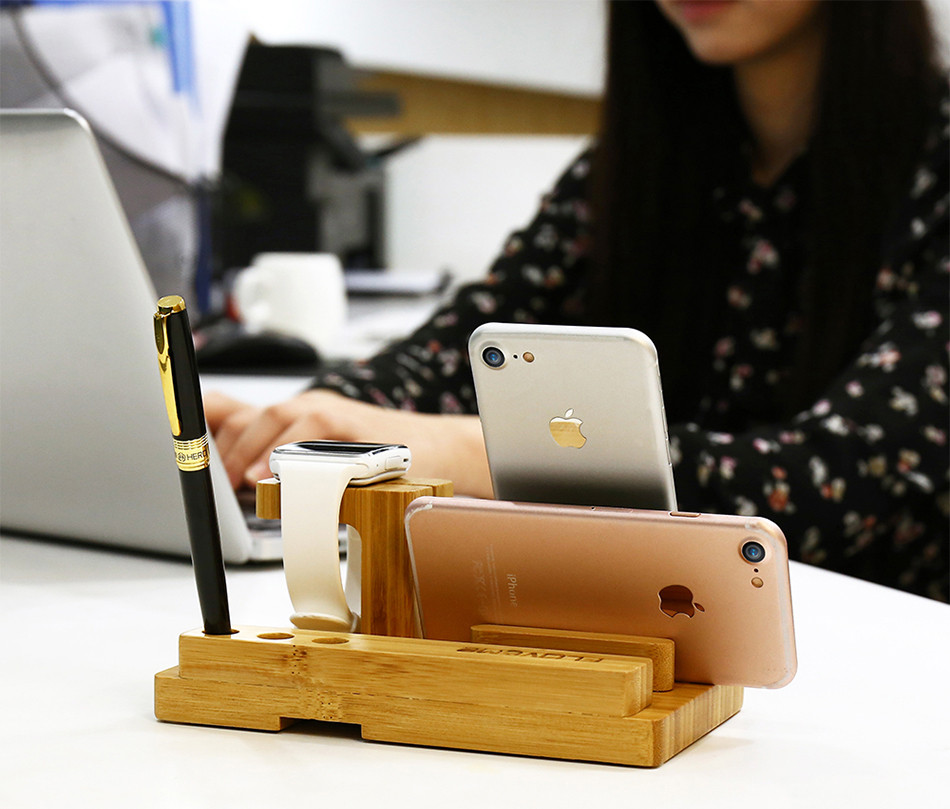 Universal Natural Bamboo Charging Dock Cradle Stand Detachable Multifunction Phone Holder (10)