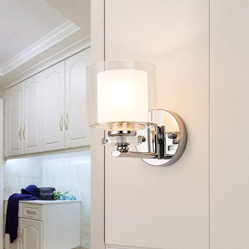Modern Chrome Metal Led Wall Lights Glass Crystal Bedroom Led Wall Lamp Living Room Led Wall Light Fixtures Corridor Wall Sconce стоимость