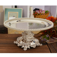 European Style Modern Silver Plated Cake Tray Fruit Dish Wedding Party Dessert Tray Creative Home Table Decoration Storage Tray