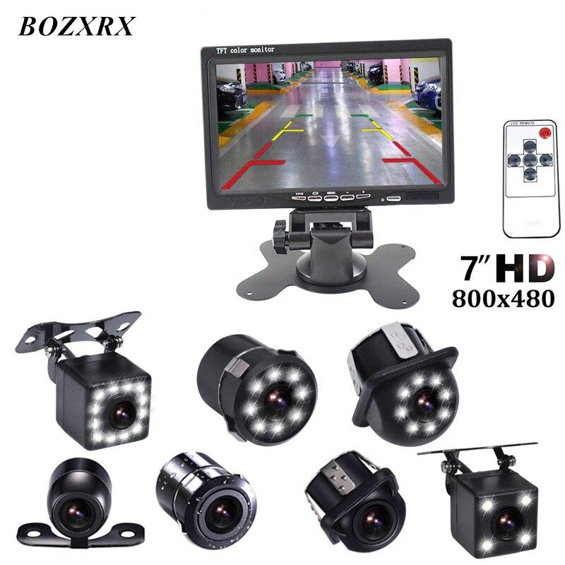 BOZXRX дюймов 7 дюймов Мониторы ЖК дисплей цвет HD экран TFT Авто Парковка заднего вида + светодио дный LED ночное видение Реверсивный камера
