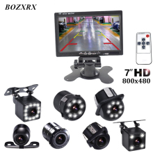 BOZXRX 7 Inch Monitor LCD Color HD TFT Screen Car Auto Parking Rear View Monitor + LED Night Vision Rearview Reversing Camera sale 7 inch tft lcd color car rearview mirror monitor wireless 10 ir night vision reversing camera for parking backup