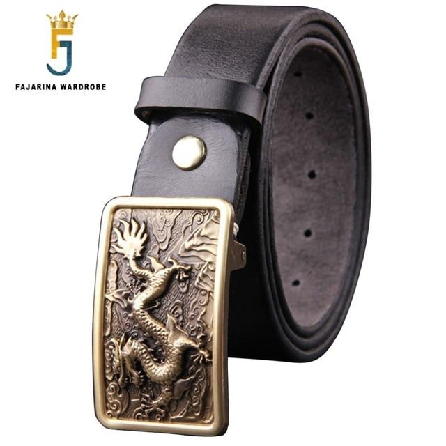 264dcaa1daf FAJARINA 2017 Design Men s Cowhide Leather Belts Jeans Personalized Western  Styles Solid Dragon Brasss Buckle Belt