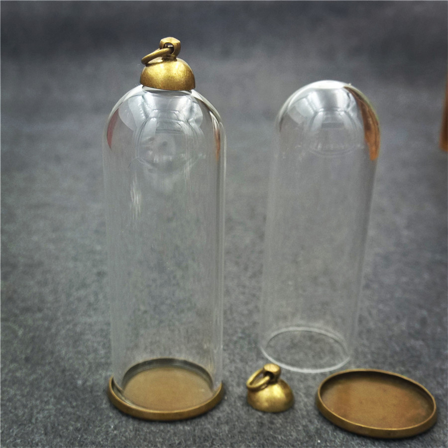 20sets 50x18mm glass tube bronze base beads cap glass vial pendant bottle dome jewelry findings in Pendants from Jewelry Accessories