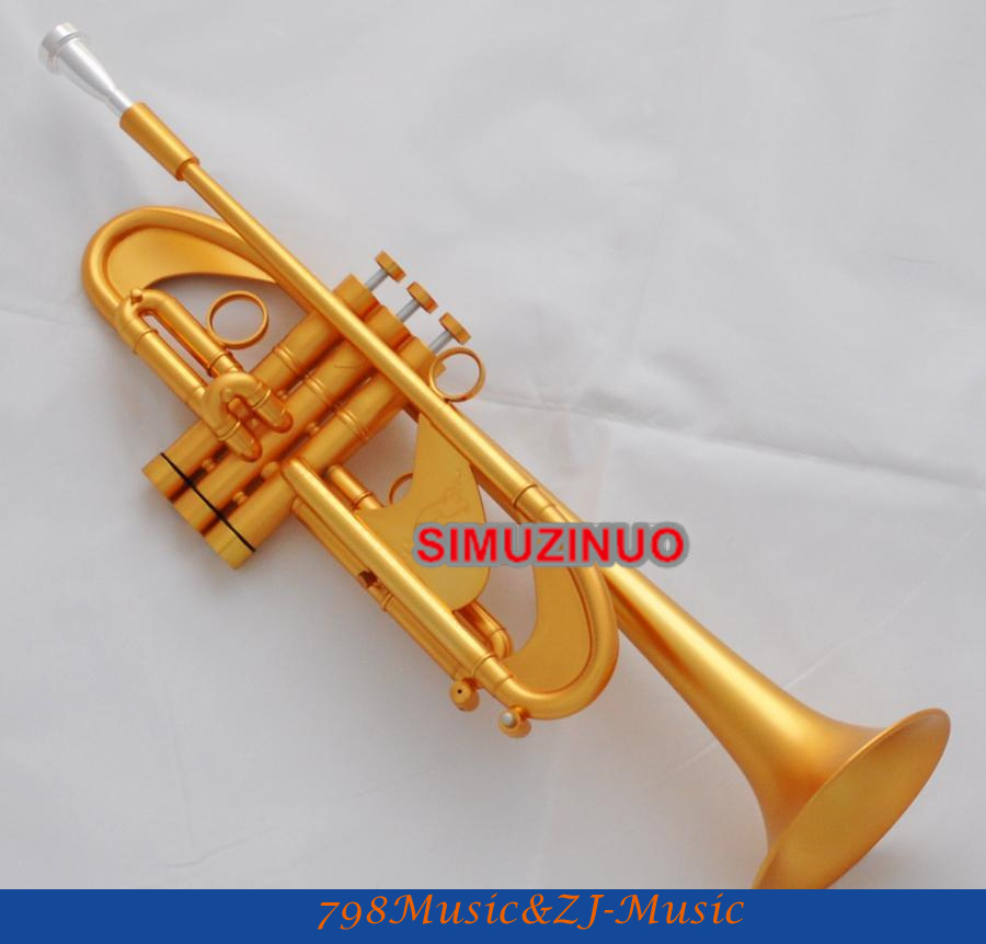 Professional Satin Gold Plated Heavy Trumpet Horn Amado Water Key New Case