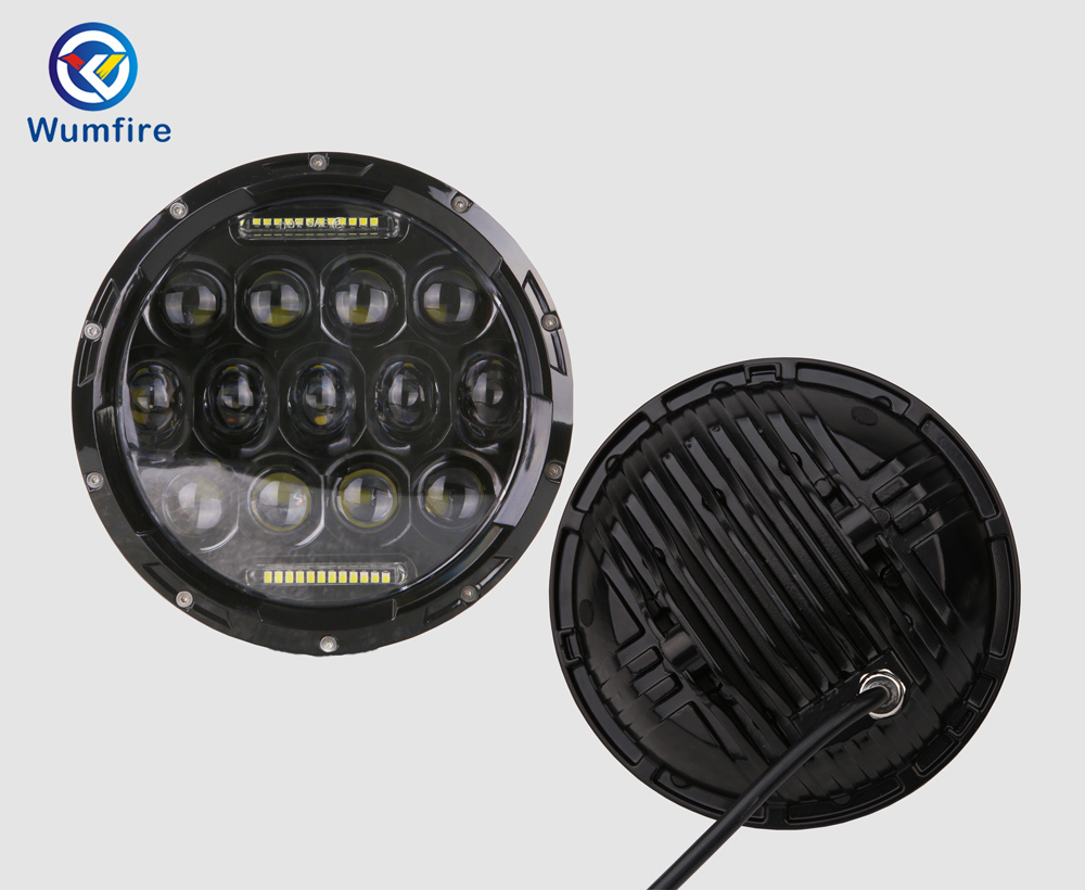 WUMFIRE 7inch 75w LED Headlight For Jeep Wrangler JK 4x4 12v-24v Running Light With H4/H13 Hi-LO Beam For LADA NIVA
