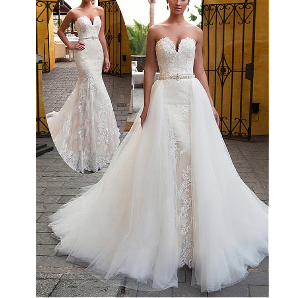 Fascinating 2 Pieces Mermaid Wedding Dresses 2020 2 In1Beading Sash Lace Appliques Sweetheart Bridal Gowns With Detachable Skirt