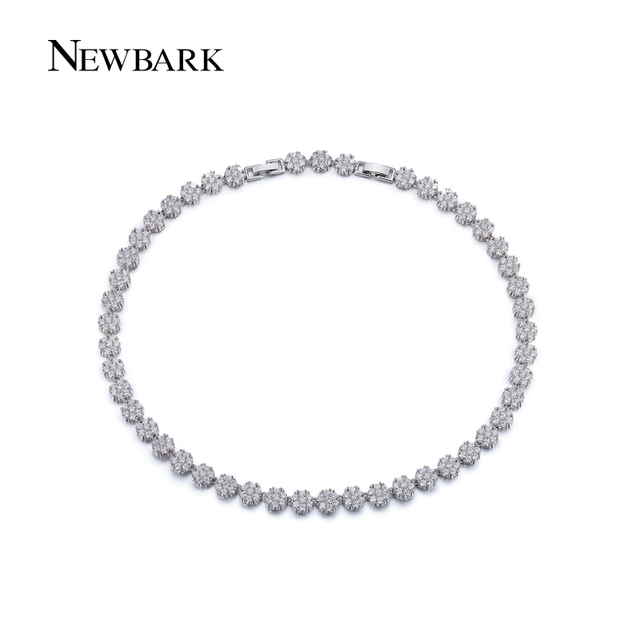 NEWBARK Delicate Flower Choker Top Quality Cubic Zirconia Created Diamond Necklace Wedding Jewelry White Gold Plated For Bride