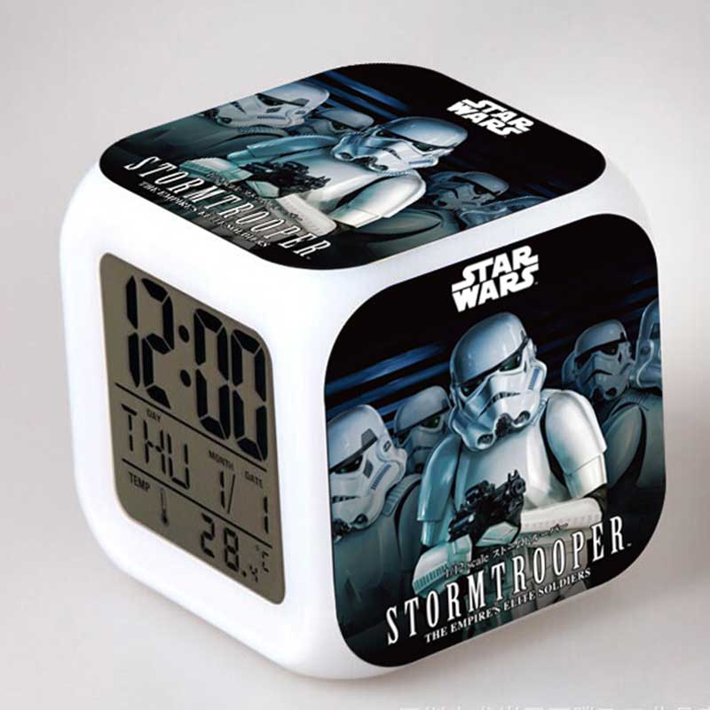 Stars War Movie figure LED Alarm Clock Colorful Flash Touch Light Kids Toys ...