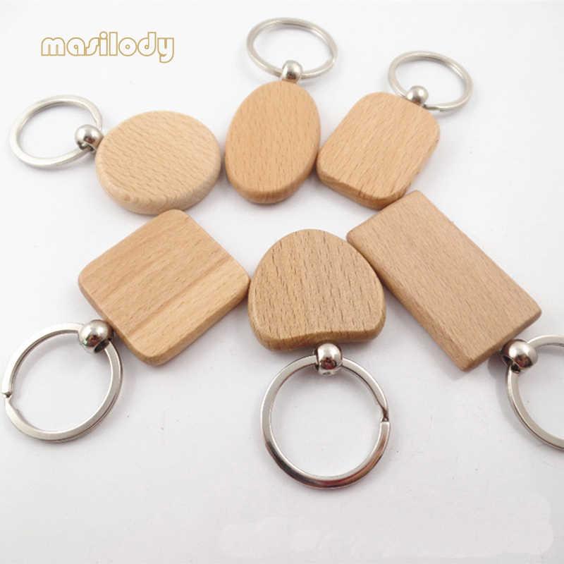 100 штлот натуральный деревянный брелок бесплатно для Diy 1 сторона логотип бук деревянный брелок квадратная круглая форма сердца брелок из дерева