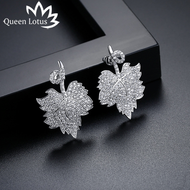 Queen Lotus 2018 Women Fashion Stud Earrings Maple Leaf Earrings Ornamentation Luxury Crystal Big Earrings Jewelery Hot Selling