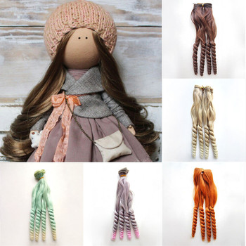 BJD/SD/Blyth/American Wigs Accessories 1pc 20*100cm Synthetic Fiber Curly Natural Color Hair Extensions for Dolls DIY Doll Hairs 1 pieces 15 100cm wool hair wefts for bjd sd blyth russian hand dolls curly hair extensions diy doll wigs hair doll accessories