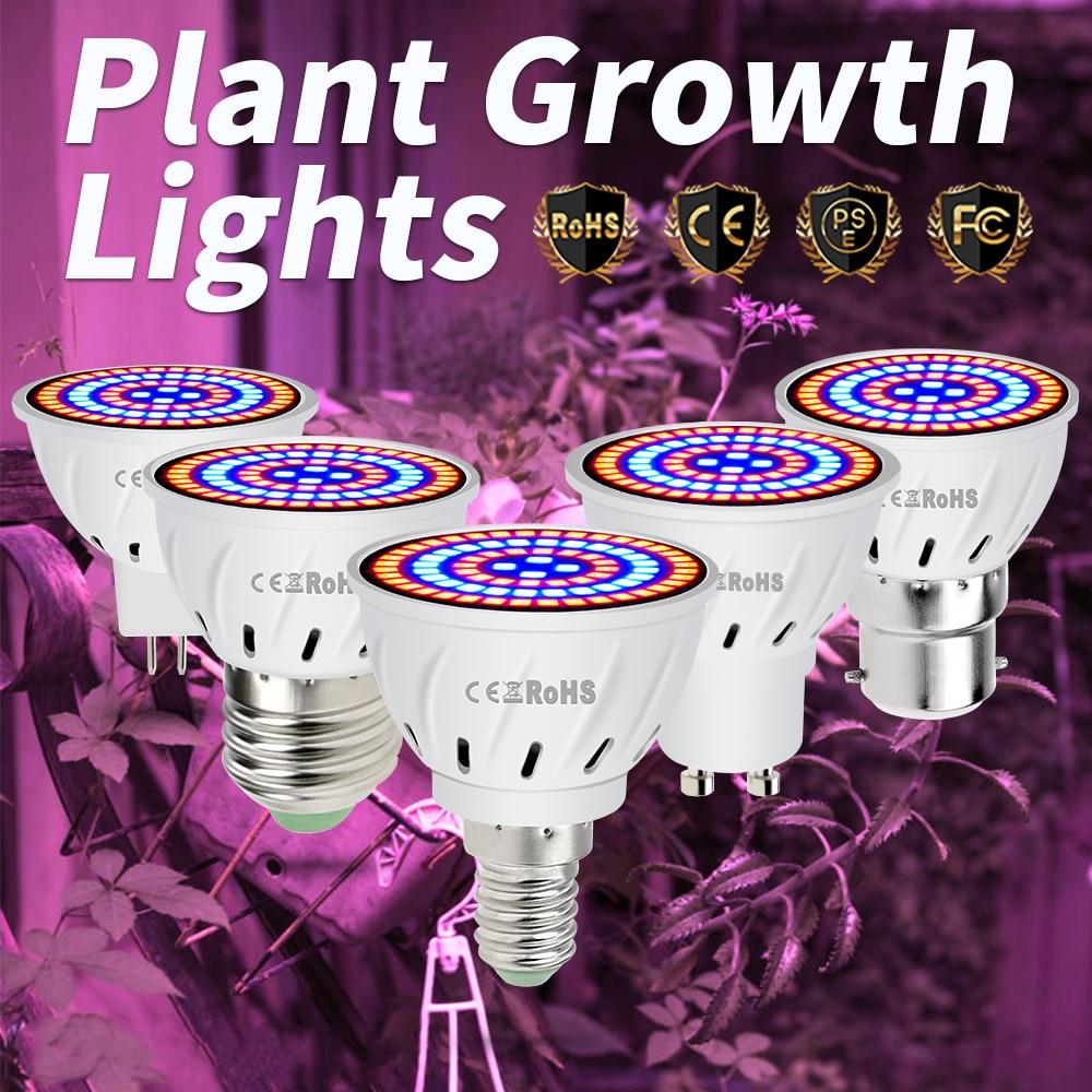 E27 LED Grow Light 220V E14 Full Spectrum LED Lamp For Plants GU10 Fitolampy Led MR16 Phyto-lamp B22 Growing Bulb 48 60 80LEDs