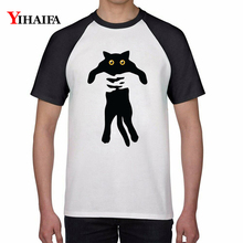 Mens Womens 2019 T-Shirt 3D Black Cat Print Stylish Summer White Tops Short Sleeve Slim Fit Unisex Graphic Tee Shirts