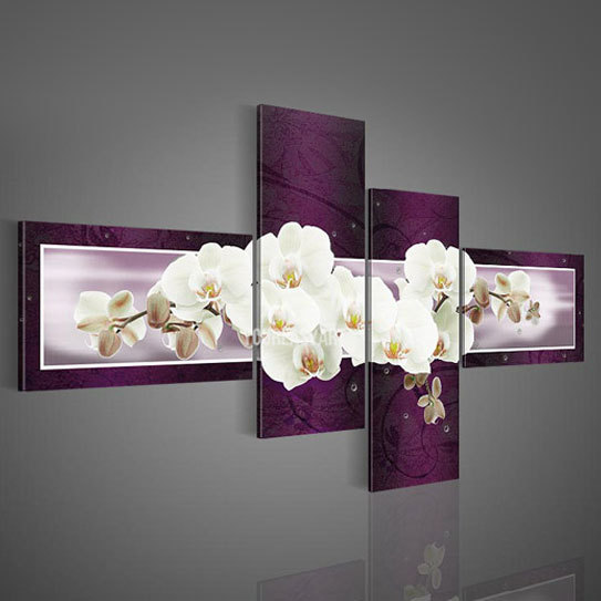 4 Panel Hand Painted Impressionist Flower Oil Painting Canvas Wall Art Home Decor For Living Room