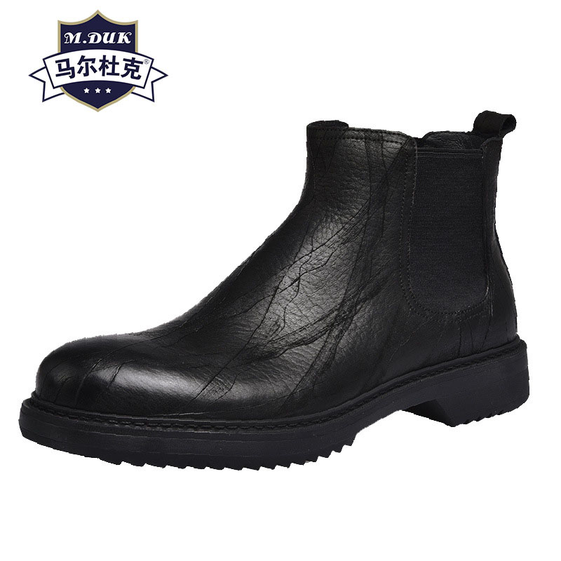 match cowhide martin boots male Genuine Leather thick bottom Casual leather boots Korean mens Chelsea boots desert boots men