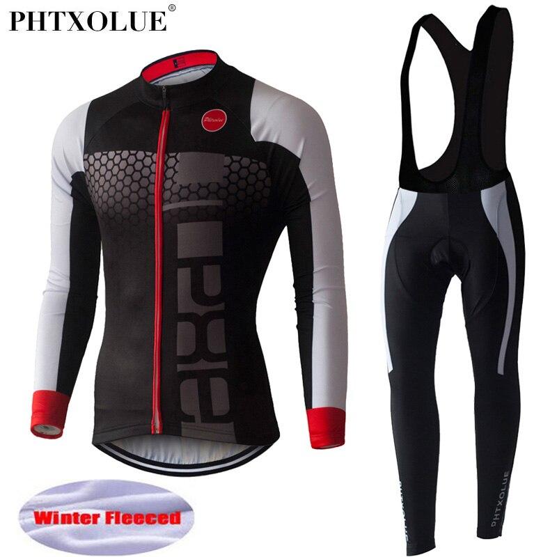 Phtxolue Winter Thermal Fleece Cycling Jersey Set Long Sleeve Bicycle Cycling Clothing Maillot Equipacion Ciclismo Bike