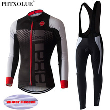 PHTXOLUE Long Sleeve Cycling Set 2017 Mtb Jersey Bike Wear Clothes Ropa Ciclismo Winter Thermal Fleece Clothing Men