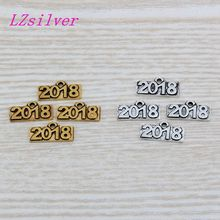 100pcs Antique Silver & gold Tone Vintage Alloy 2018 charm Pendant 20x9 mm DIY Jewelry A066