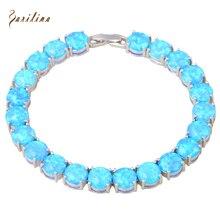 Glam Luxe Misterioso Azul del Ópalo de Fuego de Plata Pulseras y brazaletes para las niñas adolescentes pulseiras femininas 19.5 cm 7.67 pulgadas B467
