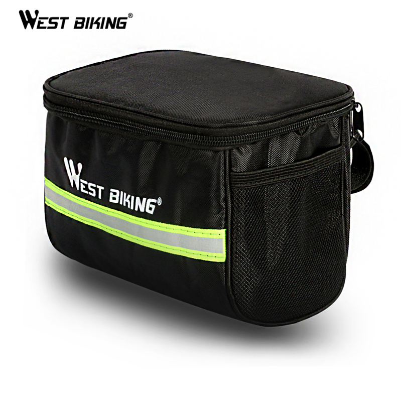 WEST BIKING Cycling Bike Bag Bicycle Front Bag Reflective MTB Bike Cycling Basket Pannier Frame Tube Cycling Front Handlebar Bag