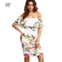 LZJ sexy collar short sleeve lotus leaf printing stitching high waist pencil dress 2017 new women summer clothing vestidos size