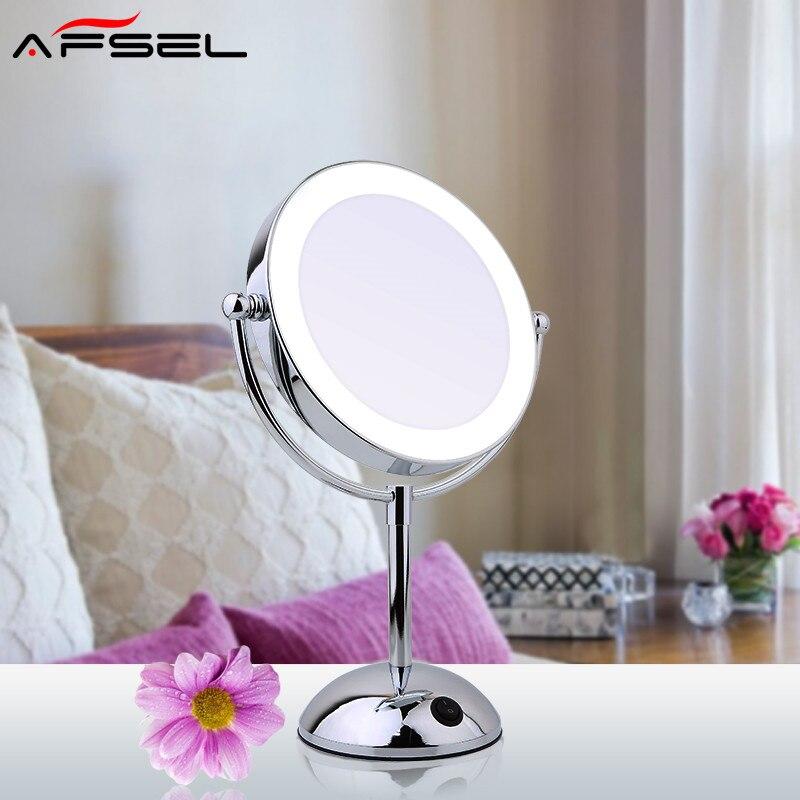 Afsel calidad superior 8.5 mesa LED espejo iluminado cosmética doble cara espejo 5x/10X ampliación señora espejo belleza