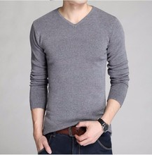 2018 Autumn Winter male quality slim high-grade pure cotton Set head knitted Solid Color sweater Male leisure v-neck knit shirt