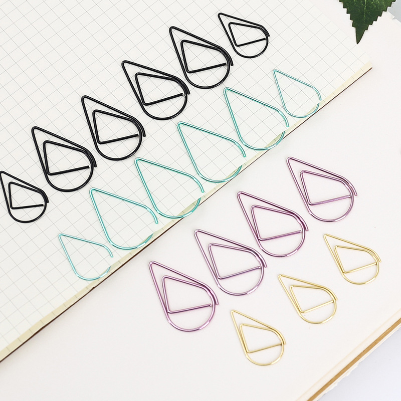 Multicolor Water Drop-Shaped Metal Binder Clips/Paper Clips/ Clamps(1 PACK 10 PCS)