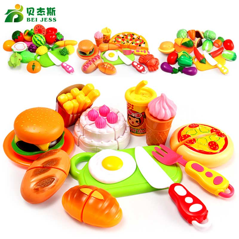 BEI JESS 13Pcs/Set Girl Kitchen Pretend Play Mini Food Cake Pizza Vegetable Fruit Cut Gift Children's Educational Toys