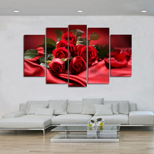 5 Pieces HD print flowers oil painting on canvas modern fashion romantic red rose wall art pictures christmas gifts