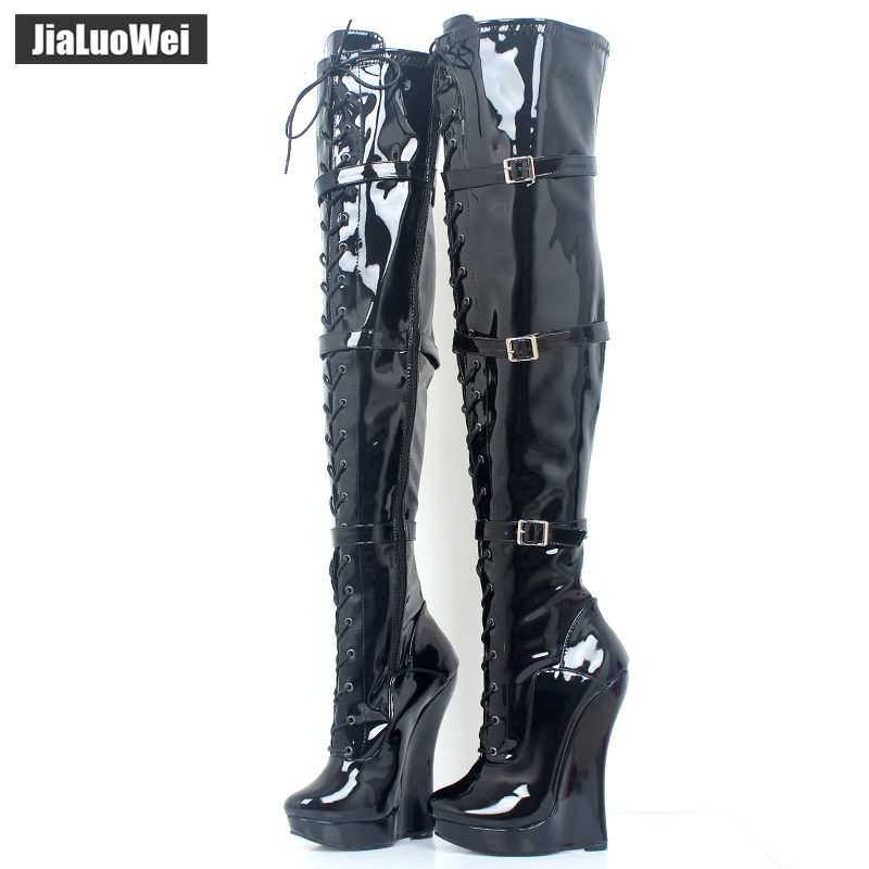 """jialuowei Ballet boots Lace-up 7""""/18CM Wedge High Heel Buckle Strap Pu Leather Fashion Sexy Fetish Over-The-Knee Long boots"""