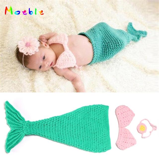 Haak Green Mermaid Pasgeboren Baby Fotografie Props Zuigeling Meisje
