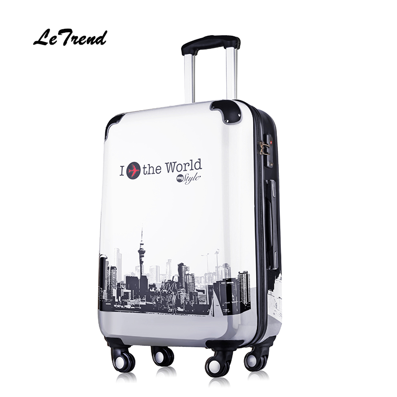 Letrend Suitcases on Wheel Rolling Luggage Spinner Trolley Travel Bag 20 inch Cabin Luggage Women Hardside Suitcase School Bag 14 20 24 inch women vintage rolling luggage sets pu travel suitcases universal wheel spinner trolley bags suitcase for girls bag
