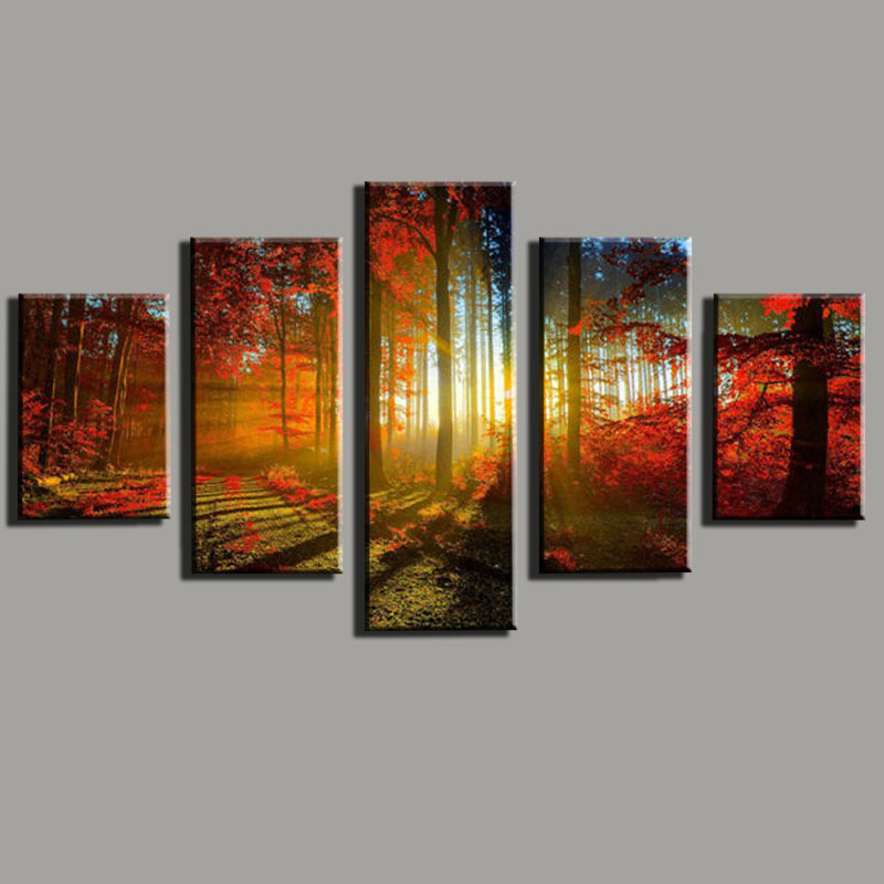 5 Panel Canvas Print Painting Cuadros De Lienzo Forest And Sunset Sunlight Autumn Red Wall Art