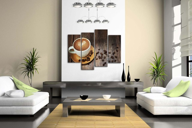 Brown Coffee Cup Patterned Framed Wall Art Pictures