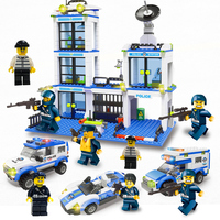 818PCS Small Building Blocks With Suitcase Package Instructions 8PCS Figures City Police Station 4 Shapes Small Bricks