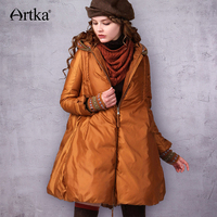 ARTKA Women Coat Long Down Jacket Female 90% Duck Down Parka With Hood 2018 A Line Thick Winter Down Coat With Gloves ZK17240D