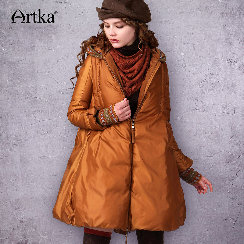 ARTKA Women   Coat   Long   Down   Jacket Female 90% Duck   Down   Parka With Hood 2018 A-Line Thick Winter   Down     Coat   With Gloves ZK17240D