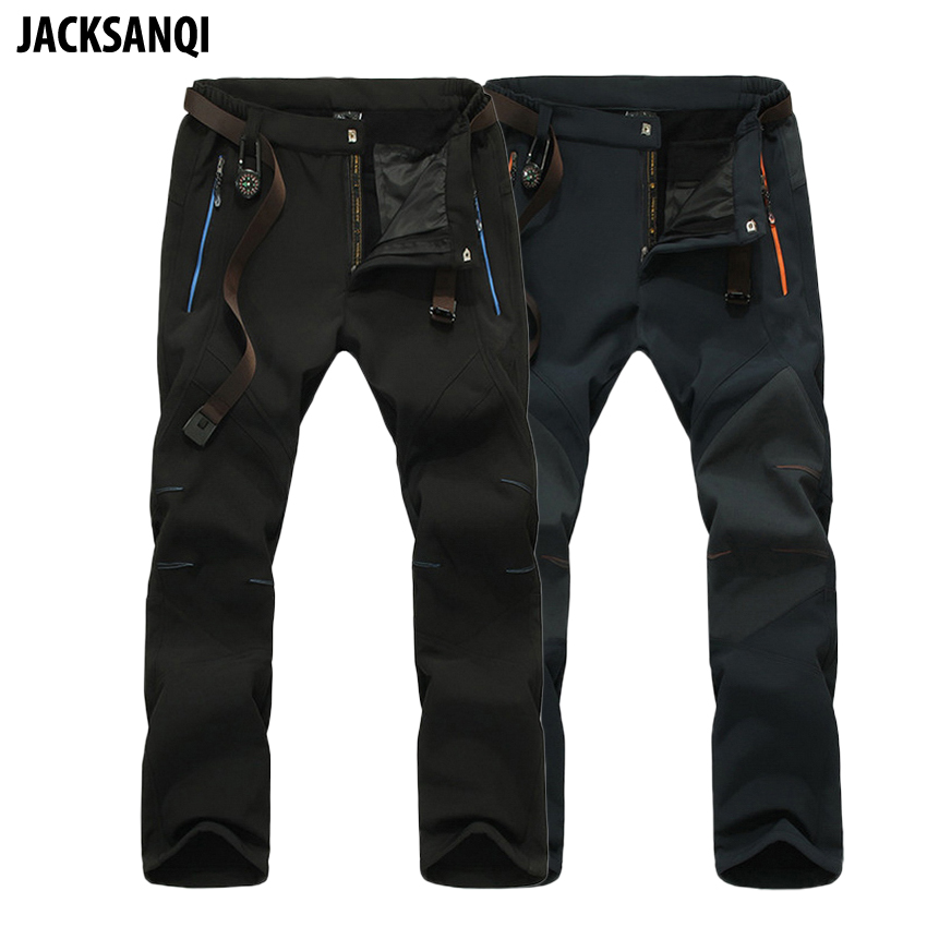 JACKSANQI Men's Pants Winter Softshell Fleece Pants Outdoor Sports Waterproof Skiing Trekking Hiking Camping Male Trousers RA031
