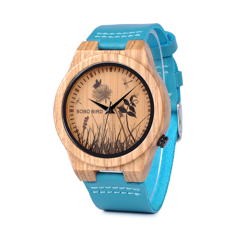 BOBO BIRD Simple Bamboo Watches 3D Print Icon Men Quartz Wristwatch with Leather Strap