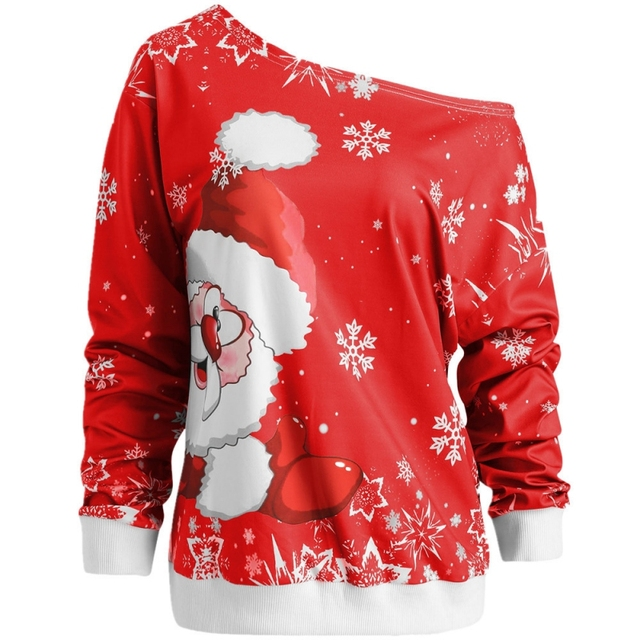 2e4e9b5ad99 Christmas Off Shoulder Sweatshirts Women Santa Claus Snowflake Printed  Pullover Slash Neck Sweatshirt Long Sleeve oversized