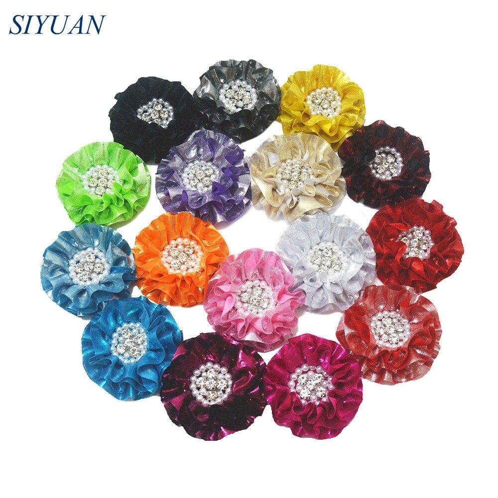 48pcs lot 3 2 Large Ruffled Metallic Fabric Flower Girl Apparel Headband Dress Accessories Color Selectable