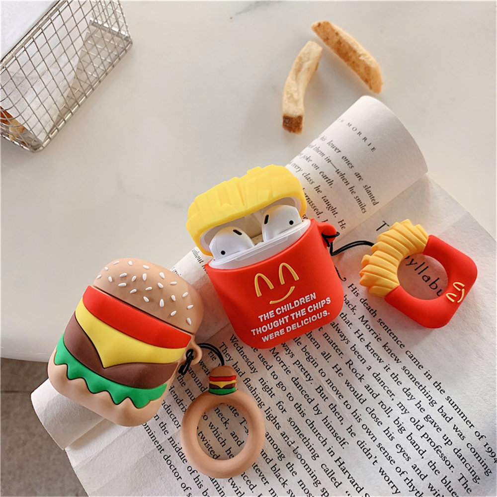 Funny French Fries Hamburger Soft Rubber Protection Case For Airpods 1 2 Kawaii Cute Silicone earphone Cover For Apple Airpods in Earphone Accessories from Consumer Electronics