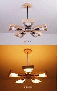 Image 4 - Modern LED Chandelier Creative Simple 3/6/8 Heads Solid Wood  Lamp Ceiling chandelier Lighting Home Lighting Bedroom Dining Room