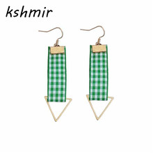 Fashionable green space cloth minimalist geometric fashion joker manual triangle earrings ear clip with