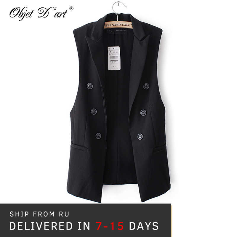 88d629def Women Button Long Vest Jacket Elegant Veste Femme Formal Casual ...