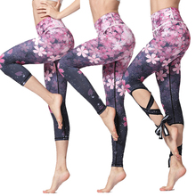 Women Ballerina Yoga Pants bandage Cropped leggings Sports dance Tight Leggings fitness Cross Pants Running Tights woman