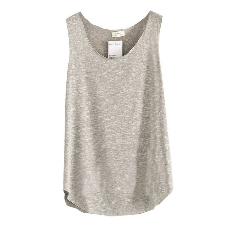 2017 Summer Shirt Women Bamboo Cotton Ermeløs Round Neck Løs Candy Color T Shirt Ladies Vest